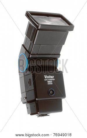 Hayward, CA - November 24, 2014: Vivitar 5600 Auto Thyristor flash system with the flash zoom in the telephoto mode
