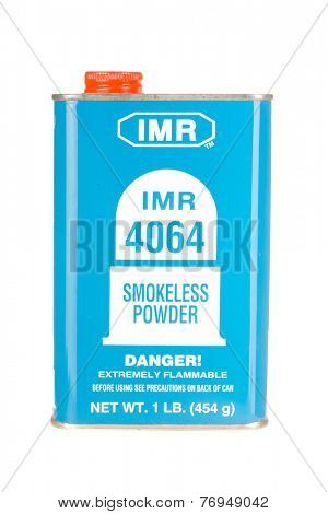 Hayward, CA - November 23, 2014: Metal container of IMR 4064 smokeless gunpowder