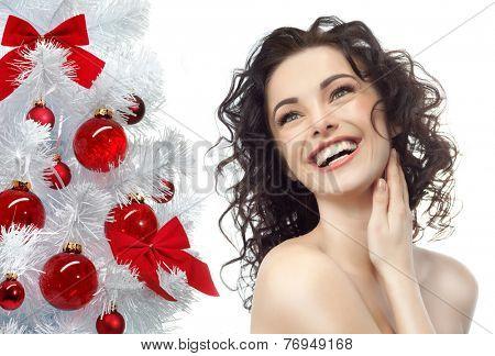 closeup beauty portrait of attractive  caucasian smiling woman