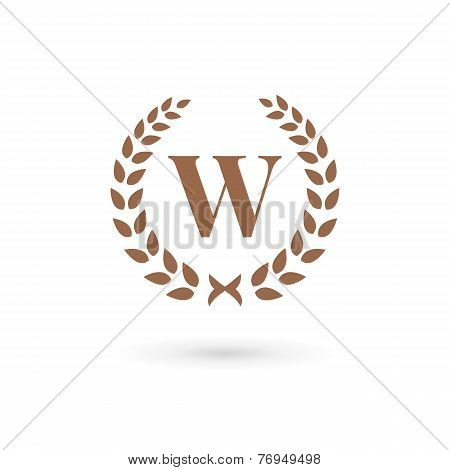 Letter W Laurel Wreath Logo Icon Design Template Elements