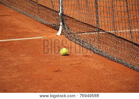 Tennis Ball In Front Of The Net