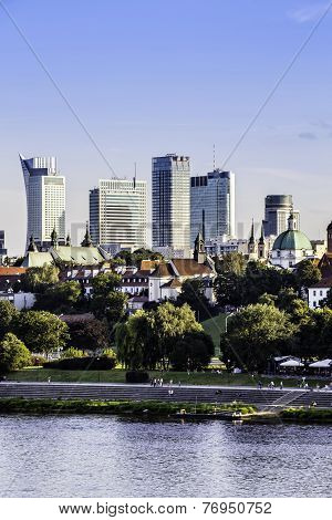 Downtown Warsaw At Afternoon Sun