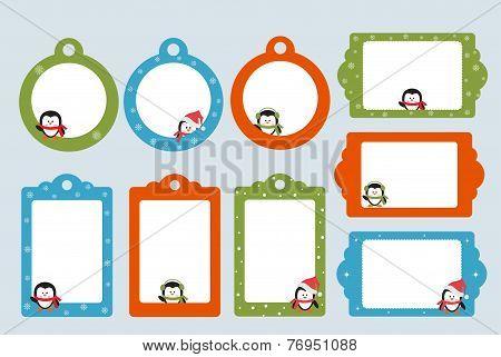 Blank templates With Cartoon Penguins for Christmas greeting card, postcard or photo farme