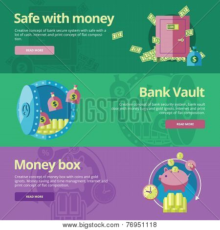 Set of flat design concepts for safe and money, bank vault, money box.  Concepts for web banners and