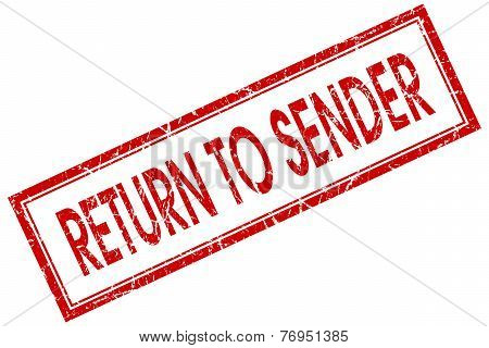 Return To Sender Red Square Stamp Isolated On White Background