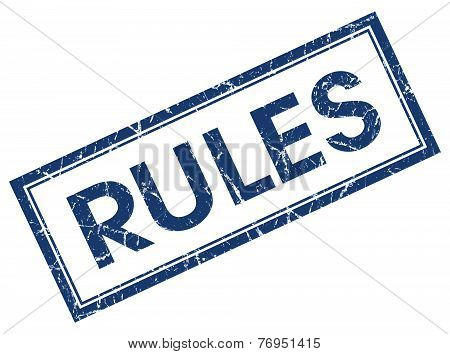 Rules Blue Square Stamp Isolated On White Background