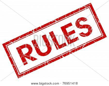 Rules Red Square Stamp Isolated On White Background