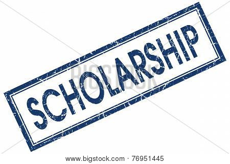 Scholarship Blue Square Stamp Isolated On White Background