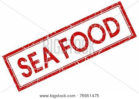 Sea Food Red Square Stamp Isolated On White Background