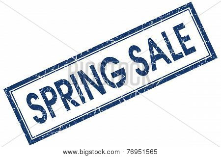 Spring Sale Blue Square Stamp Isolated On White Background