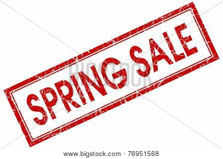 Spring Sale Red Square Stamp Isolated On White Background