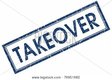 Takeover Blue Square Stamp Isolated On White Background
