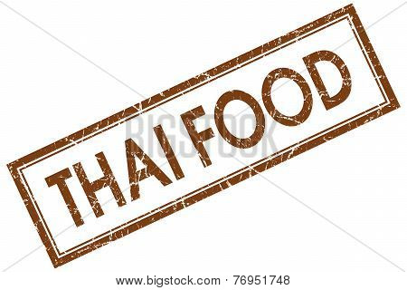 Thai Food Brown Square Stamp Isolated On White Background