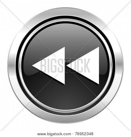 rewind icon, black chrome button