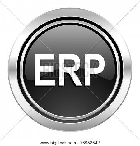 erp icon, black chrome button