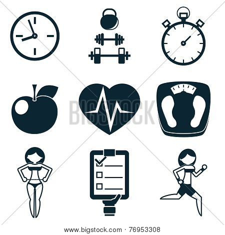 Sport Fitness and Health isolated icons set