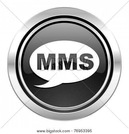mms icon, black chrome button, message sign