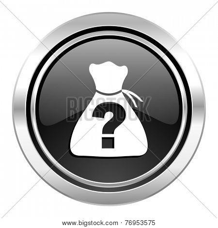 riddle icon, black chrome button