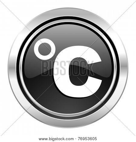 celsius icon, black chrome button, temperature unit sign