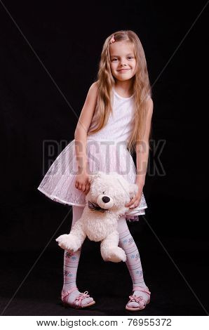 Happy Girl Playing With Teddy Bear