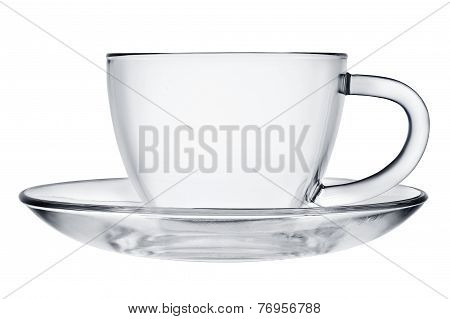 Empty Glass Cup And Saucer.