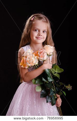 Five-year Girl With A Bouquet Of Flowers