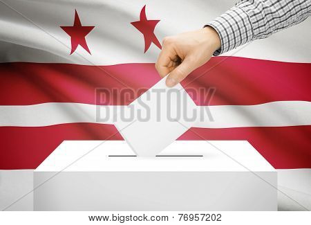 Voting Concept - Ballot Box With National Flag On Background - District Of Columbia, Washington, D.c