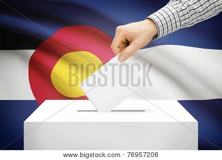 Voting Concept - Ballot Box With National Flag On Background - Colorado