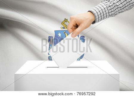 Voting Concept - Ballot Box With National Flag On Background - Massachusetts