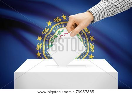 Voting Concept - Ballot Box With National Flag On Background - New Hampshire