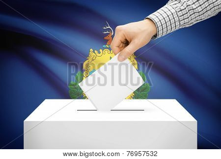 Voting Concept - Ballot Box With National Flag On Background - Vermont