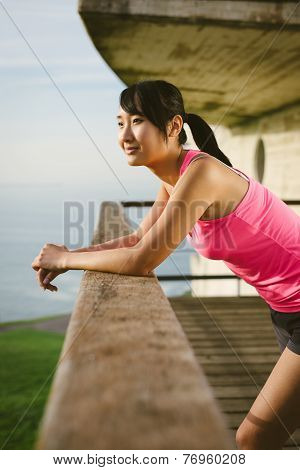 Relaxed Sporty Woman Taking A Rest