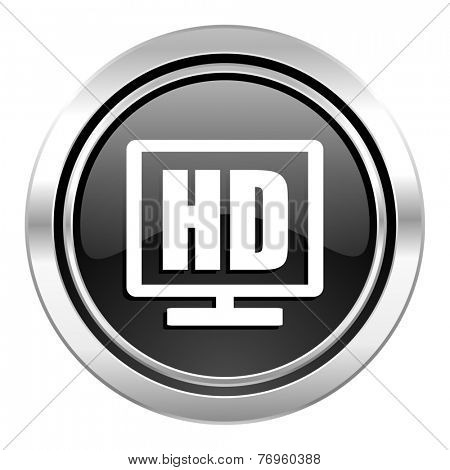 hd display icon, black chrome button