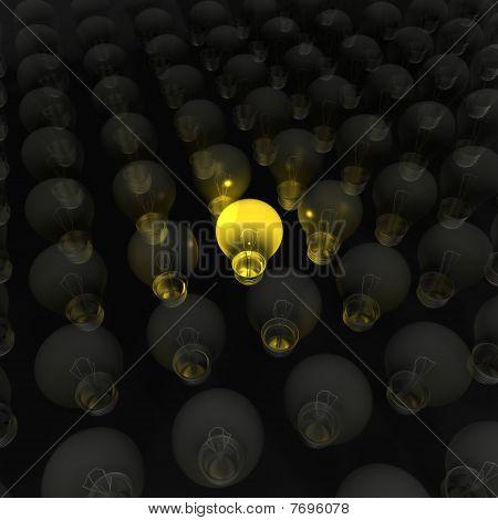 A bright yellow lightbulb - a 3d image