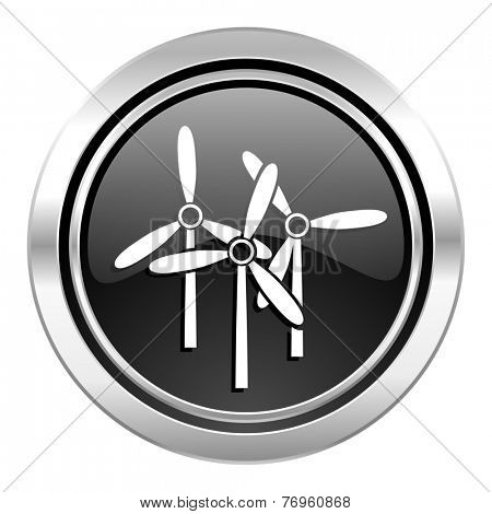 windmill icon, black chrome button, renewable energy sign