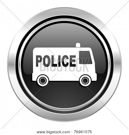 police icon, black chrome button