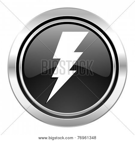 bolt icon, black chrome button, flash sign