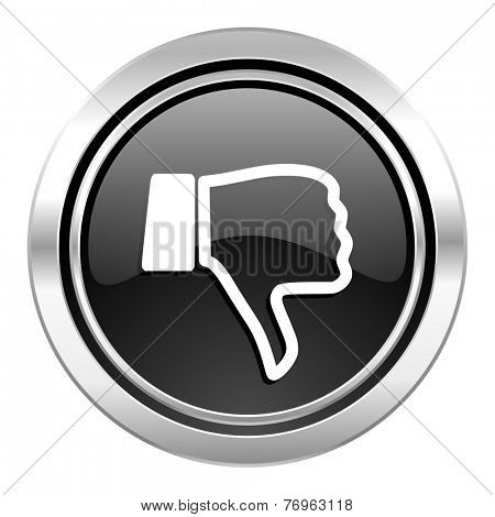 dislike icon, black chrome button, thumb down sign