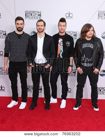 LOS ANGELES - NOV 23:  Kyle Simmons, William Farquarson, Dan Smith, Chris 'Woody' Wood, Bastille at the 2014 American Music Awards at the Nokia Theater on November 23, 2014 in Los Angeles, CA