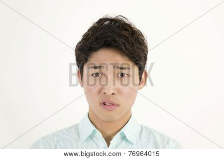 Angry asian male student