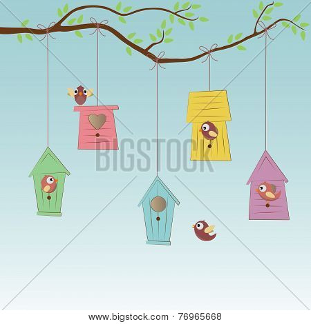Birds Houses With Some Birds