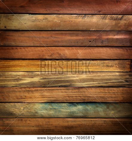 Wood paneling made from antique or vintage tree wood pieces.