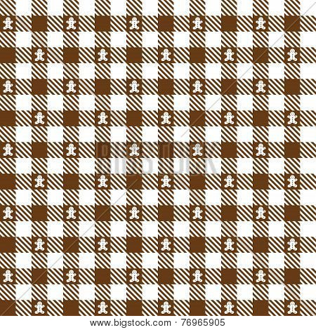 Brown Checkered Pattern With Gingerbread Man - Endlessly