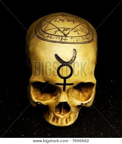 Mystical Skull With Talisman Symbols