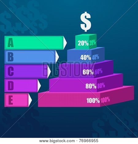 Staircase diagram modern 3d business step options