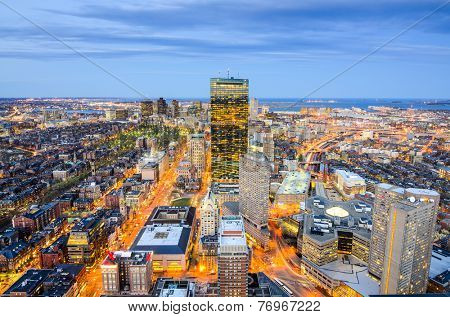 Boston, Massachusetts, USA aerial view of the downtown cityscape.