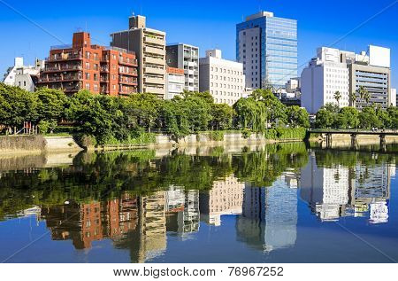 Hiroshima, Japan cityscape on the Otagawa River.