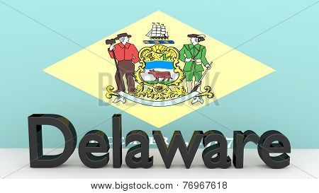 Us State Delaware, Metal Name In Front Of Flag
