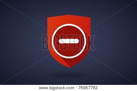 Long Shadow Shield Icon With A Subtraction Sign