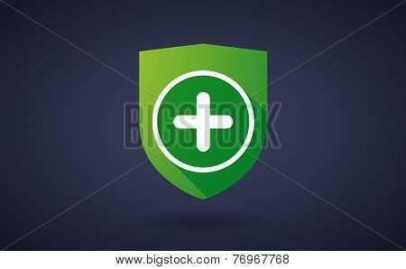 Long Shadow Shield Icon With A Sum Sign